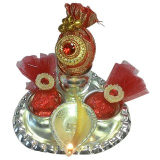 Paan Shaped German Silver Plated Puja Thali Set
