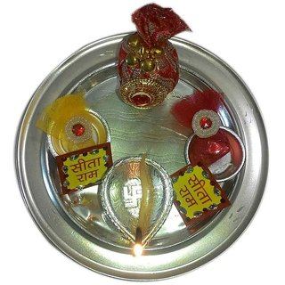 Pious German Silver Plated Puja Thali Set  Festive Spirit