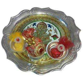Artistic Medium German Silver Plated Thali Set