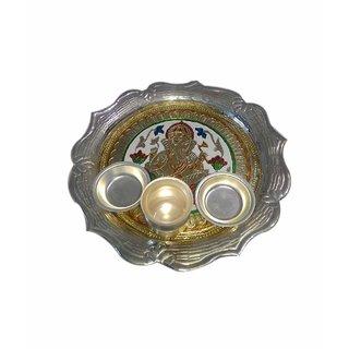 Medium Ganesh Designing German Silver Plated Thali Set