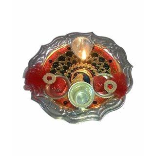 Designing German Silver Plated Lota Puja Thali  Flaming Diya Shun