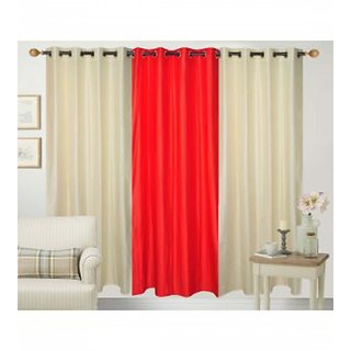 Ech oly Cream  Red Curtain set of 3(4X5)