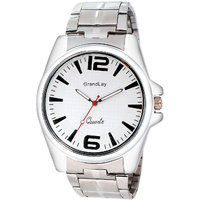 GRANDLAY GL-1043 SILVER WEIST WHITE DIAL ANALOG WATCH FOR MEN