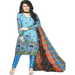 klasee sky blue printed cotton dress material