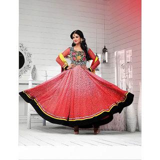 First Lady Light Pink Net Jacquard Designer Anarkali Suit