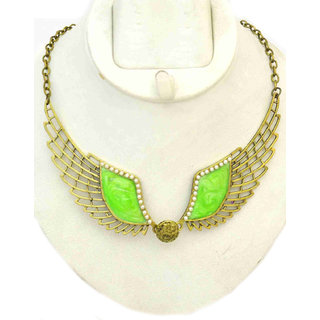Angel Wings Green Enamel Casual Wear Necklace