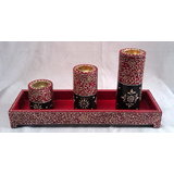 Decorative 3 Tealight Holder With Tray