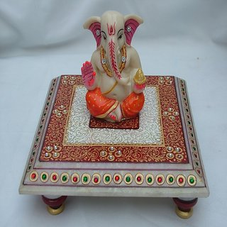 jaipurikala Marble decorative chowki with loard Ganesh