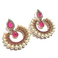 Dark pink pearl  tilak polki earrings