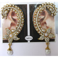 Flower white drop kaan ear cuffs earrings