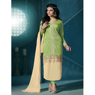 Thankar Parrot And Cream Embroidered Lycra Straight Suit