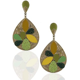 Anuradha Art Drop Shape Green Colored Stylish Earrings For Women