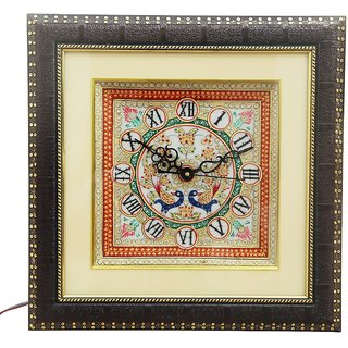 HANDICRAFTS PARADISE MARBLE WALL CLOCK WITH EMBOSS PEACOCK PATTERN HPMR15007