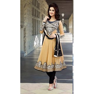 Neelfab Beige & Black Faux Georgette Anarkali Suit