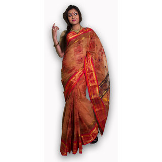 Bengal Handloom saree( Tant)- Code SC10 (Orange)