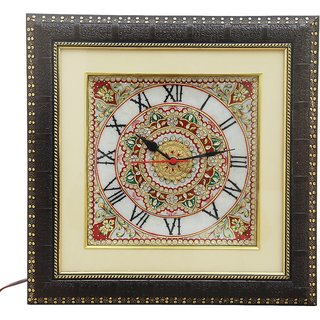 HANDICRAFTS PARADISE MARBLE DECORATIVE KUNDAN WORK WALL CLOCK HPMR15009