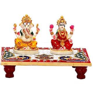 jaipurikala Laxmi Ganesh Statue With Chowki