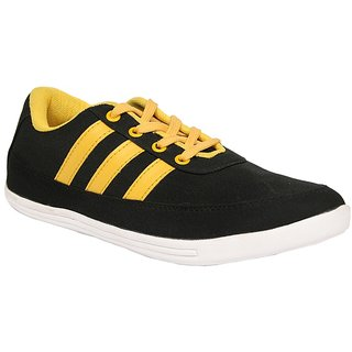 Sukun Mens Yellow Black Slip On Casual Shoes