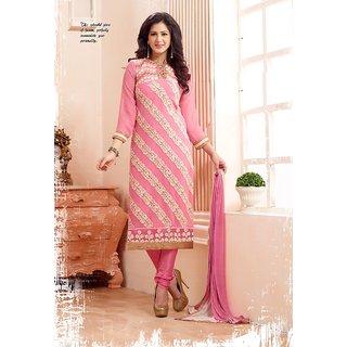 Trendz Apparels Pink 60 gm Georgette Straight Fit Salwar Suit
