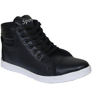 Sukun Mens Black Lace-up Casual Shoes