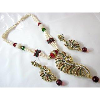 Stunning One Gram Gold Pearl Jadau Set With Rajasthani Crystals And Kundans