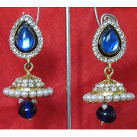 Dark Blue drop wonderful tilak  jumka earring