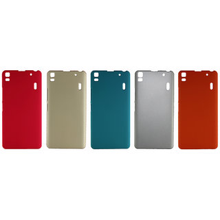 Fcs Ruberrised Hard Back Case For Lenovo A7000 In Matte Finish-Combo Of 5 FCS-C-HB-LENOVO-A7000-PK-GD-SB-SL-OR