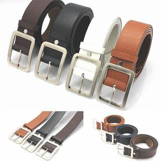 Combo of 4 Formal Multicolor Leatherite Belt For Men