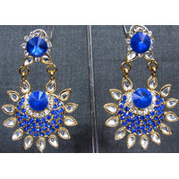 Dark blue sun white kundan earring