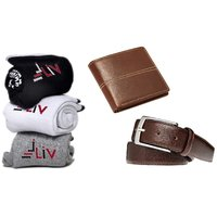 Iliv Brown PU Formal Wallets With Belt