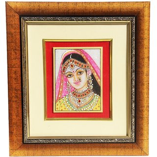 HANDICRAFTS PARADISE MARBLE WALL DCOR BRIDE  DESIGN PAINTING FRAMED HPMR15017