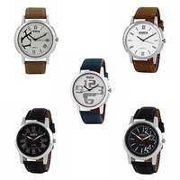 Oura Analog Round Dial Formal Wear Watch For Men Pack Of 5pc