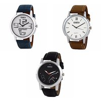 Oura Analog Round Dial Casual Wear Watch For Men Pack Of 3pc