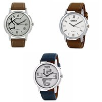Oura Analog White Dial Casual Wear Watch Pack Of 3 For Men