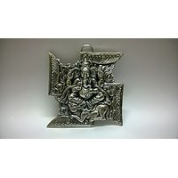 Lord Ganesha On Swastika Hanging In White Metal And Antique Finish