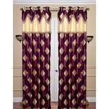 Beautiful Purple Curtain With Double Laces Design-set Of 2(4x7ft)