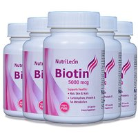 NutriLeon Biotin For Hair, Skin  Nails Care 5000mcg 60 Capsules (Pack Of 5)