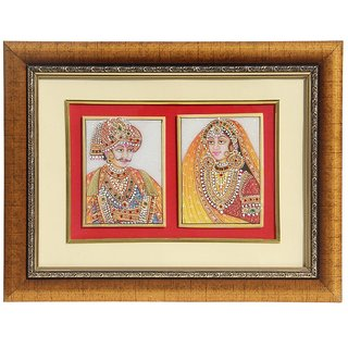 HANDICRAFTS PARADISE MARBLE WALL DCOR MUGHAL PAIR PAINTING FRAMED HPMR15019