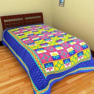 GRJ India Pure Cotton Multi Colour Single BedSheet