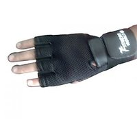 Leather Wrist Support Padded Net Support Gym Gloves
