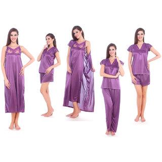 Fasense Purple Satin Plain Nightwear Sets (Pack Of 5)