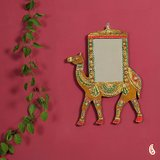 Royal Camel In Wood And Clay Mirror