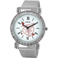Oura Designer Diamond Round Casual-Party Wear Love Watch For Girls,Women