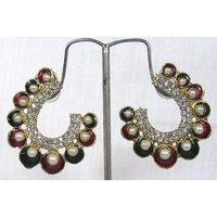 Fancy Maroon and green pearl stone earring