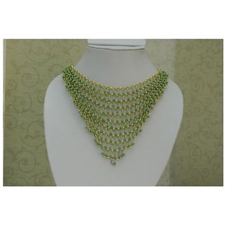 Fashion Green Beaded Chained Statement Necklace