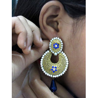 Golden ball stone blue drop  earring