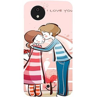 Casotec Boy Kissing Girl Design Hard Back Case Cover for Micromax Canvas A1