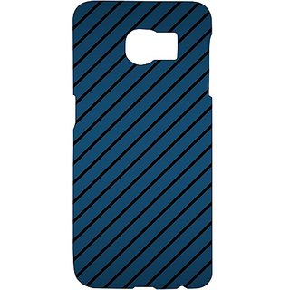 Casotec Blue Stripes Design Hard Back Case Cover for Samsung Galaxy S6 edge