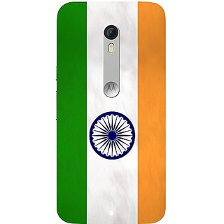 Casotec Indian Flag Pattern Print Design Hard Back Case Cover for Motorola Moto X Play
