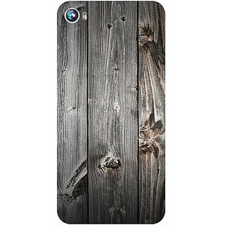 Casotec Wooden Texture Design Hard Back Case Cover for Micromax Canvas Fire 4 A107